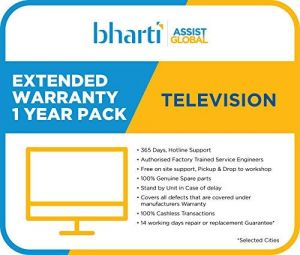 Bharti Assist 1 Year Extended Warranty for TV Rs.1 to Rs.18000